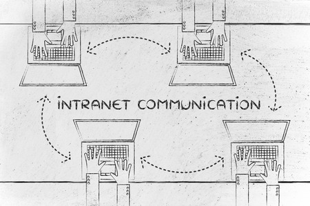 intranet: intranet communication: hands typing on laptops with arrows for communication and data exchange