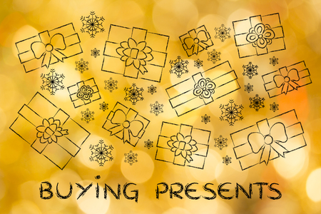 wrapped up: buying presents: illustration with wrapped up gifts and snowflakes Stock Photo