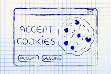 accepting: funny minimal pop-up message about accepting cookies, flat outline illustration