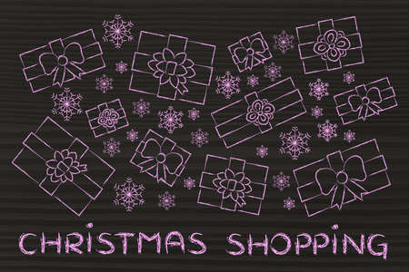 wrapped up: Christmas shopping: illustration with wrapped up gifts and snowflakes