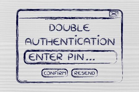 funny pop-up message about setting up double authentification, flat outline illustration
