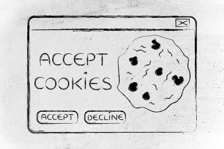 popup: funny minimal pop-up message about accepting cookies, flat outline illustration