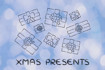 wrapped up: Christmas presents: illustration with wrapped up gifts