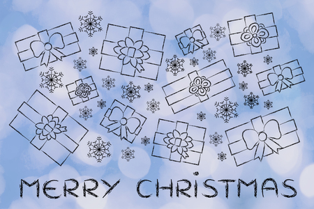 wrapped up: merry Christmas: illustration with wrapped up gifts and snowflakes