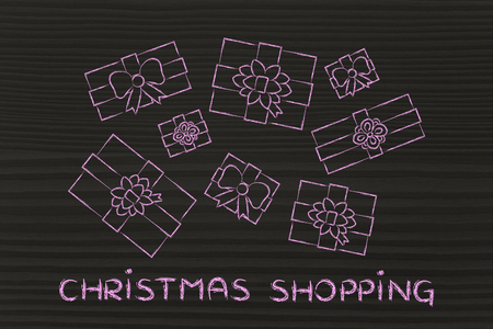 wrapped up: Christmas shopping: illustration with wrapped up gifts