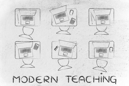 instead: modern teaching: school desks with students laptops instead of books Stock Photo