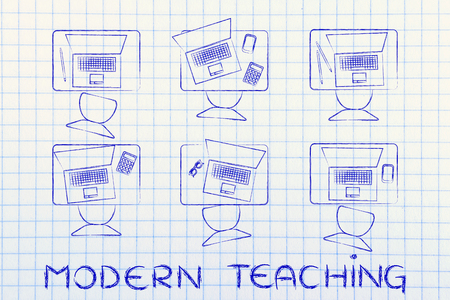 thesis: modern teaching: school desks with students laptops instead of books Stock Photo