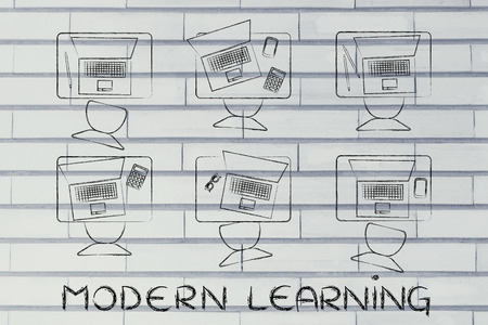 instead: modern learning: school desks with students laptops instead of books