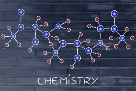 centres: chemistry: molecule inspired illustration with glowing centres (atoms) and connections