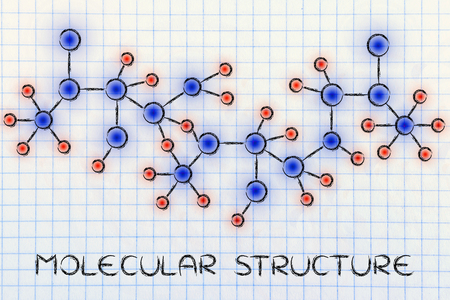 centres: chemistry inspired illustration of molecular structures with glowing centres (atoms) and connections Stock Photo
