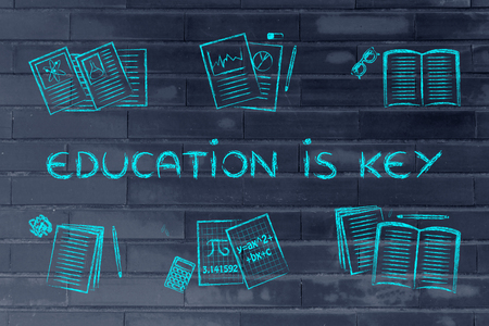 chalk outline: Education is key: set of school books and textbooks, flat chalk outline illustration Stock Photo