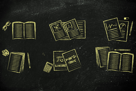 literature: set of school books and textbooks about maths, chemistry, literature, statistics