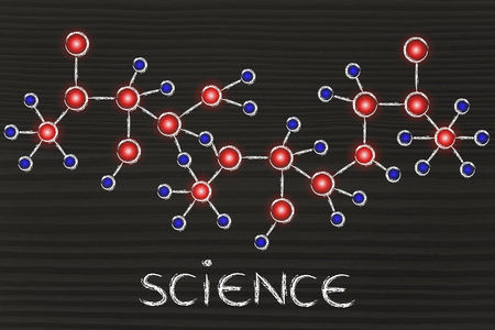 centres: science and chemistry: molecule inspired illustration with glowing centres (atoms) and connections Stock Photo