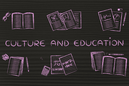 master degree: Culture and education: set of books and notes about various school subjects