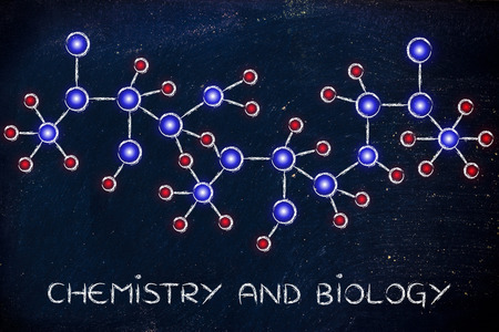 centres: chemistry and biology: molecule inspired illustration with glowing centres (atoms) and connections