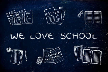 chalk outline: We love school: set of  books and textbooks, flat chalk outline illustration Stock Photo