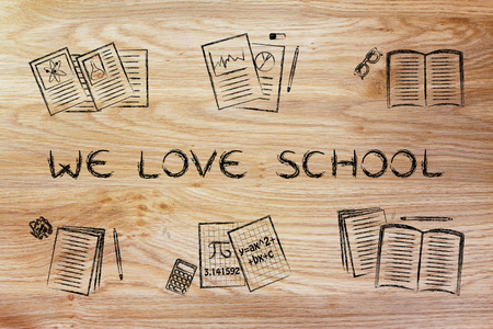 textbooks: We love school: set of  books and textbooks, flat chalk outline illustration Stock Photo