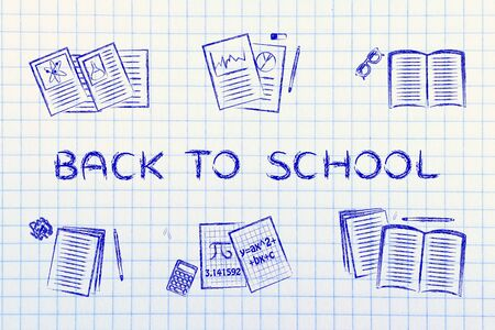 chalk outline: Back to school: set of  books and textbooks, flat chalk outline illustration