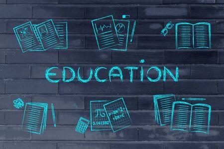 chalk outline: Education concept: set of school books and textbooks, flat chalk outline illustration