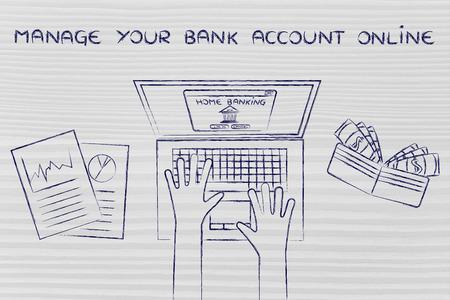 cuenta bancaria: administrar su cuenta bancaria en l�nea: typing banca en casa en su computadora port�til, con la carpeta y estad�sticas