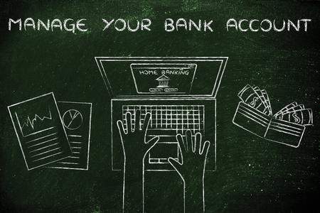 cuenta bancaria: administrar su cuenta bancaria: typing banca en casa en su computadora portátil, con la carpeta y estadísticas Foto de archivo