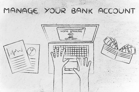 cuenta bancaria: administrar su cuenta bancaria: typing banca en casa en su computadora port�til, con la carpeta y estad�sticas Foto de archivo