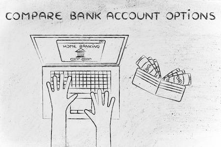 compare: compare bank account options: user typing on his laptop, with wallet and stats on his desk