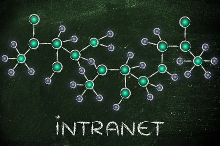 intranet: intranet: technology and internet inspired abstract glowing network illustration