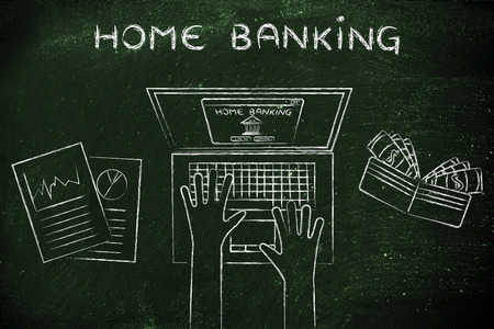 cuenta bancaria: home banking: person loggin into his bank account online, with wallet and stats