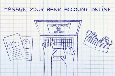 cuenta bancaria: administrar su cuenta bancaria en línea: typing banca en casa en su computadora portátil, con la carpeta y estadísticas