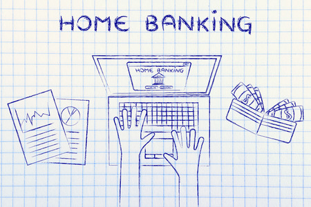 cuenta bancaria: banca en casa: persona autenticarte en su cuenta bancaria en línea, con la carpeta y estadísticas