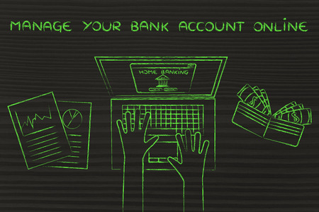 cuenta bancaria: manage your bank account online: home banking user typing on his laptop, with wallet and stats Foto de archivo