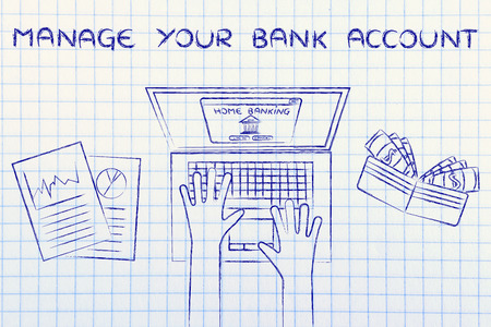 cuenta bancaria: manage your bank account: home banking user typing on his laptop, with wallet and stats Foto de archivo