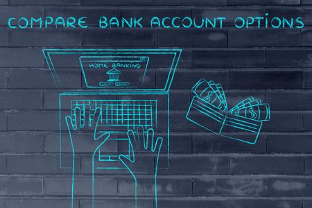cuenta bancaria: comparar las opciones de la cuenta bancaria: usuario escribir sobre su ordenador port�til, con la carpeta y estad�sticas sobre su escritorio Foto de archivo