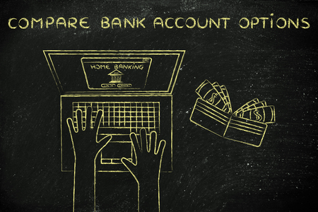 cuenta bancaria: compare bank account options: user typing on his laptop, with wallet and stats on his desk