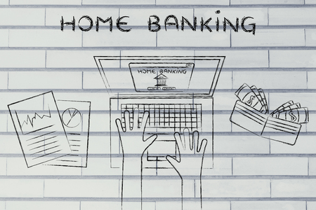 bank account: home banking: person loggin into his bank account online, with wallet and stats