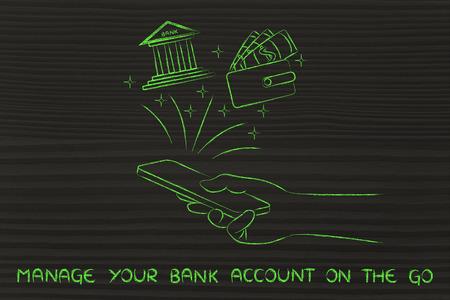 cuenta bancaria: administrar su cuenta bancaria en l�nea: la celebraci�n de tel�fono inteligente y el uso de aplicaciones de servicios bancarios mano Foto de archivo