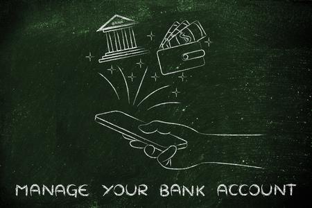 cuenta bancaria: administrar su cuenta bancaria: la celebración de teléfono inteligente y el uso de los servicios bancarios mano o aplicación de presupuestos