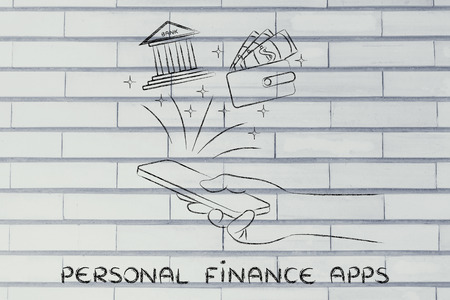 personal finance: personal finance apps: hand holding smartphone and using banking services or budgeting on the go