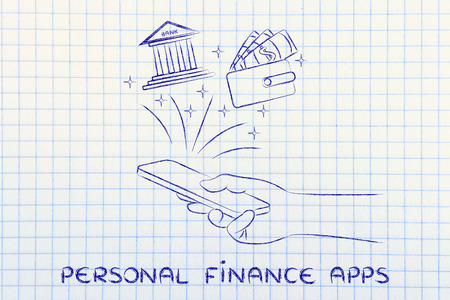 personal banking: personal finance apps: hand holding smartphone and using banking services or budgeting on the go