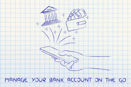 cuenta bancaria: manage your bank account online: hand holding smartphone and using banking service app Foto de archivo