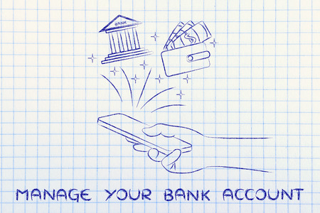 cuenta bancaria: manage your bank account: hand holding smartphone and using banking services or budgeting app