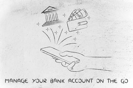cuenta bancaria: administrar su cuenta bancaria en línea: la celebración de teléfono inteligente y el uso de aplicaciones de servicios bancarios mano Foto de archivo