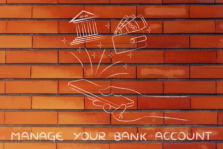 cuenta bancaria: administrar su cuenta bancaria: la celebraci�n de tel�fono inteligente y el uso de los servicios bancarios mano o aplicaci�n de presupuestos