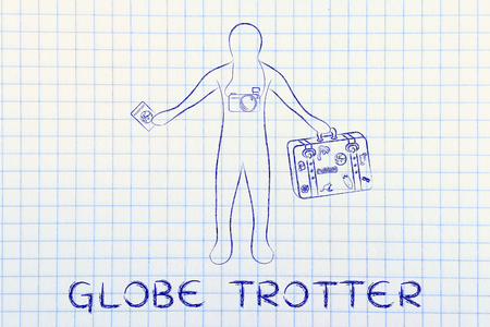 trotter: globe trotter: traveler with camera holding his luggage and passport