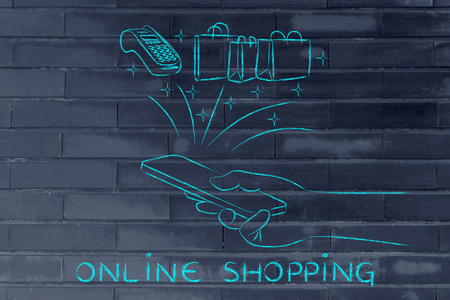 internet terminal: online shopping: smartphone with pos and shoping bag coming out of the screen