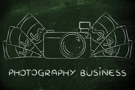 photoshoot: photography business: illustration of a funny camera with cash