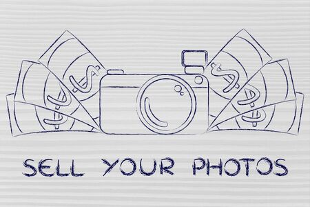 to sell: sell your photos: illustration of a funny camera with cash Stock Photo