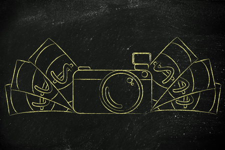 photoshoot: earn through photography: illustration of a funny camera with cash