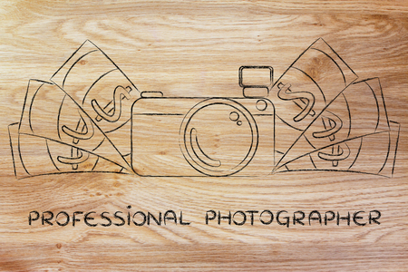 royalty free photo: being a professional photographer: illustration of a funny camera with cash Stock Photo
